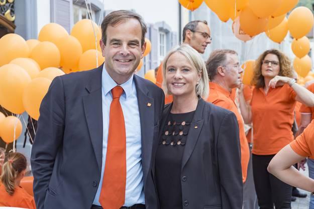 Nationalrätin Elisabeth Schneider-Schneiter mit CVP-Präsident Gerhard Pfister
