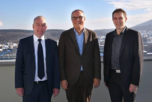 Enge Zusammenarbeit fürs Projekt Sälipark 2020 (v.l.): Oltens Stadtpräsident Martin Wey, Investor Thomas W. Jung und Heinz Rüedi, Leiter Expansion bei der Migros Aare