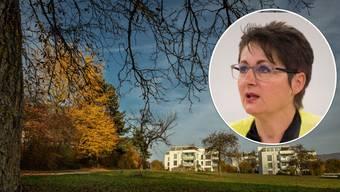 Franziska Roth und der mögliche Standort für die Asyl-Grossunterkunft in Baden-Rütihof.