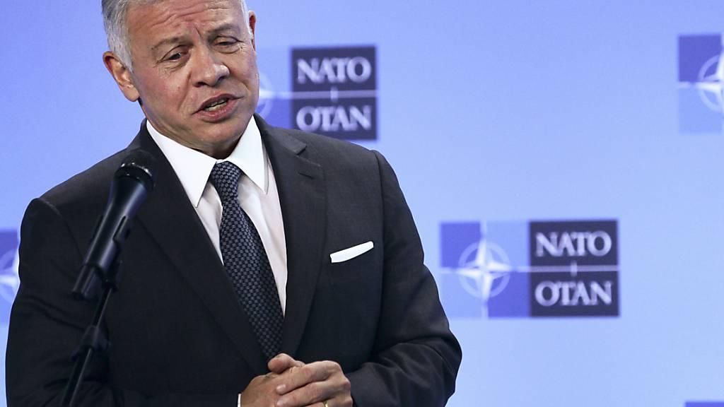 ARCHIV - Der jordanische König Abdullah II. hat nach den Veröffentlichungen aus den «Pandora Papers» mit rechtlichen Schritten gedroht. Foto: Johanna Geron/Pool Reuters/AAP/dpa