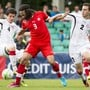 Otar Kakabadze - hier ganz rechts während einer U19-Partie gegen die Schweiz - wird künftig als rechter Aussenverteidiger beim FC Luzern Tore verhindern