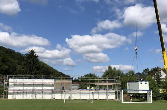 In nur zwei Tagen wurde das Schul-Provisorium von Baden-Rütihof in den Meierhof gezügelt. Nach dem Innenausbau in den Herbstferien soll der Pavillon bezugsbereit sein.