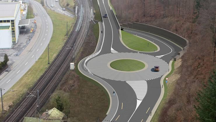Ein wichtiger Teil der geplanten Umfahrung ist der neue Kreisel Brugg- West, hier von Schinznach-Bad her gesehen.