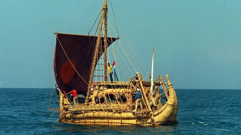Thor Heyerdahls Papyrusboot Ra II beim Start am 17. Mai 1970. (Archivbild)