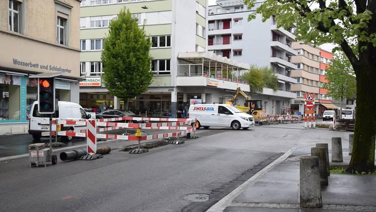 Baustelle an der Kreuzung Ringstrasse/Solothurnerstrasse in diesen Tagen.
