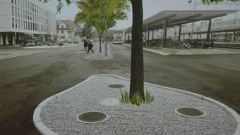 So könnte der Bahnhofplatz in Suhr in rund eineinhalb Jahren aussehen.