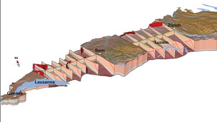 Das dreidimensionale Modell GeoMol zeigt den Untergrund des Schweizer Mittellandes mit seinen geologischen Schichten und Störungen.