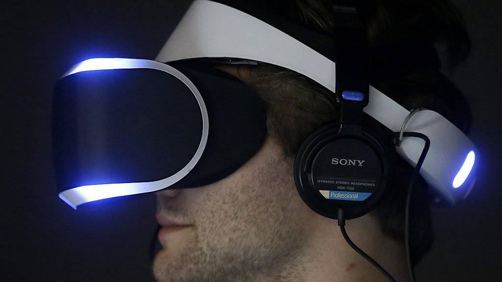 Die Playstation-4-Virtual-Reality-Brille bei einer Vorführung im Jahr 2014.