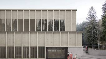 Die neue Sporthalle wird eine Fassade aus Lärchenholz aufweisen.