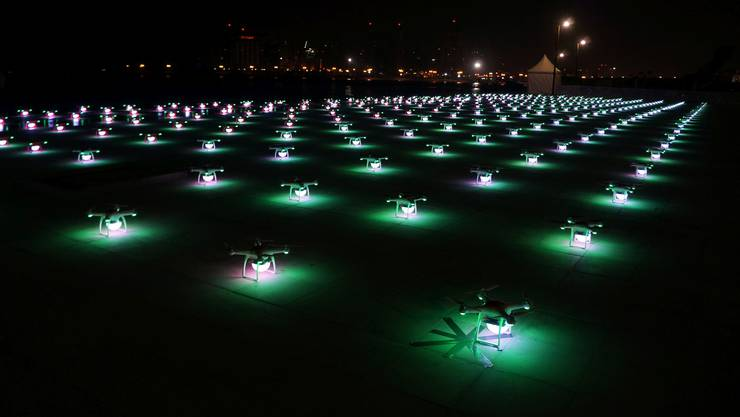 Die Flotte der Drohnen: 150 Stück werden vier Mal am Züri Fäscht am Nachhimmel dreidimensionale Bilder zeichnen.