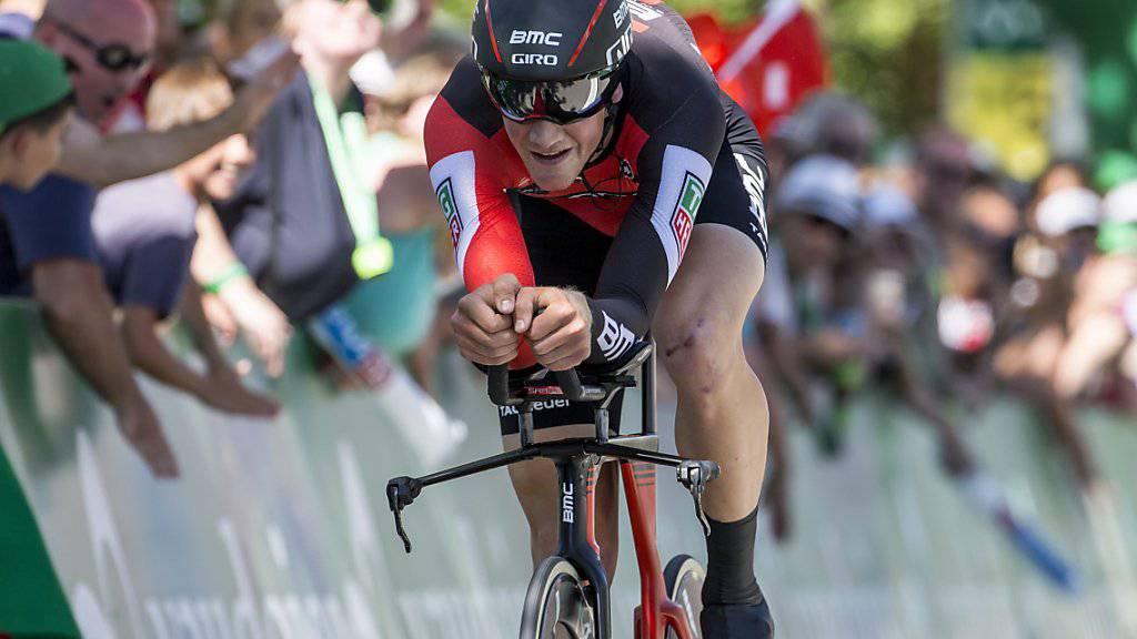 Stefan Küng - im Bild während der Tour de Suisse diesen Sommer - gehört an der Rad-WM in Bergen wegen des schwierigen Terrains nicht zu den Favoriten im Einzelzeitfahren