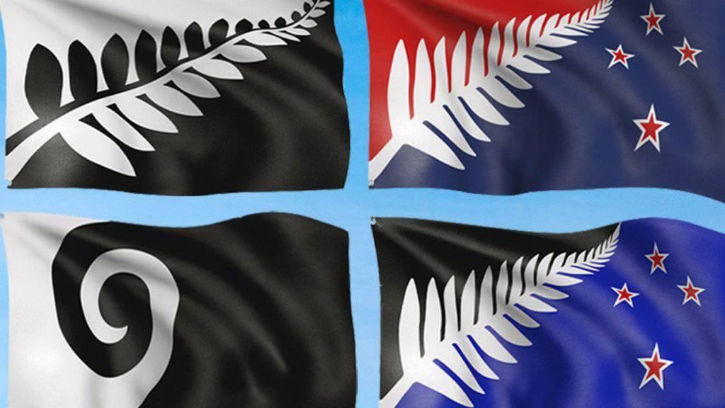 Diese vier Vorschläge für die neue neuseeländische Nationalflagge stehen zur Auswahl. Nicht mehr im Rennen ist eine Variante mit dem Union Jack Grossbritanniens.