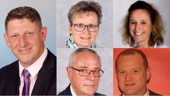 Beat Käser (links) ist Ammann. Bernadette Ankli (oben links), Andrea Porriciello, Walter Zumstein und  Hans Rudolf Schlatter wurden in den Gemeinderat gewählt.
