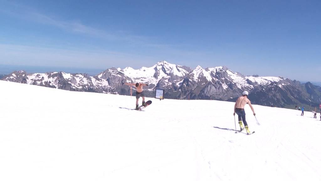 Skifahren im Juni am ersten Hitzetag