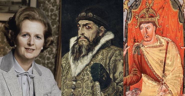 Kennen Sie Iwan IV. Wassiljewitsch? Wohl kaum. Aber Ivan den Schrecklichen kennen fast alle. Von links nach rechts: Margaret Thatcher, Ivan der Schreckliche und Karl der Kahle.
