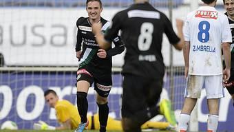 St. Gallens Sébastien Wüthrich freut sich über sein Tor zum 1:0