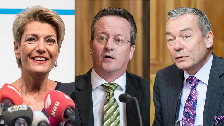 Kandidiert: Karin Keller-Sutter. Kandidieren nicht: Martin Schmid (Mitte) und Ruedi Noser.