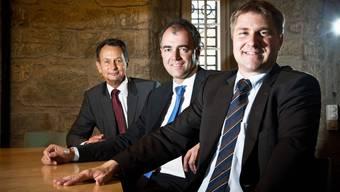 Toni Brunner, Christophe Darbellay und Philipp Müller (von rechts) Die Präsidenten der bürgerlichen Bundesratsparteien haben künftig wieder mehr Freizeit. Fast gleichzeitig geben sie ihre Zepter weiter.
