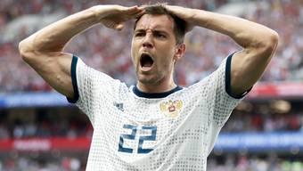 Artyom Dzyuba sorgte für den zwischenzeitlichen 1:1-Ausgleichstreffer und durfte schliesslich den Viertelfinal-Einzug feiern.