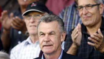 Ottmar Hitzfeld auf der Brügglifeld-Tribüne – fürs Barrage-Rückspiel will er wieder kommen.