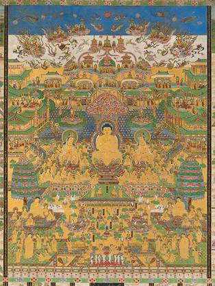 Das Westliche Paradies des Amitabha (Taima Mandara) Buddhistische Hängerolle aus Japan, 19. Jh.