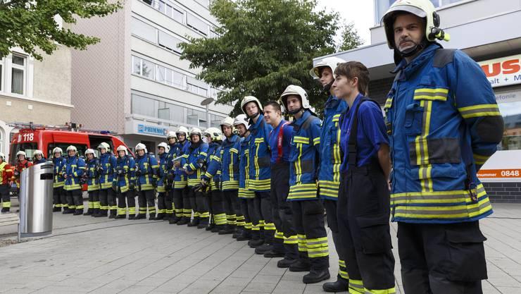 Die Feuerwehr Grenchen anlässlich einer Hauptübung.