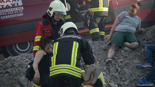 Panik und Verzweiflung im Steinbruch: Eindrücke von der Katastrophenübung.