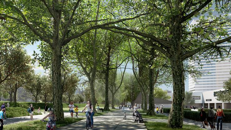 Die Esplanade, ein grüner Freiraum – Blick in Richtung Langäcker.