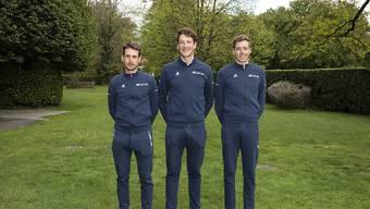 Sébastien Reichenbach, Stefan Küng und Kilian Frankiny (von links) sind an der 73. Tour de Romandie das Schweizer Trio des Teams Groupama-FDJ