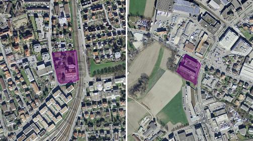 Die Liegenschaft Pulvermühle (links) und die Liegenschaft Neumühle sollen Platz für ein Hochschulzentrum bieten. (Bild: Staatskanzlei Graubünden)
