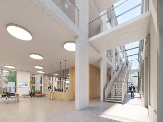 """Gestaltungsplan """"Alte Post"""" und Gestaltungsplan """"Annerstrasse"""" liegen öffentlich auf; geplant sind Neubauten mit zentralisierter Verwaltung, Bibliothek, Gewerbeflächen und Wohnungen; Visualisierung Entrée Verwaltung"""