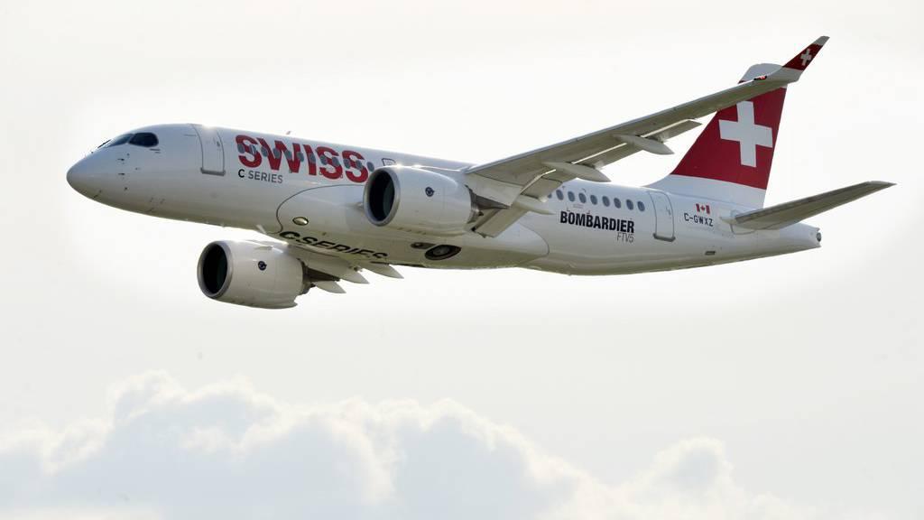 Der Bombardier CS100 der Swiss.