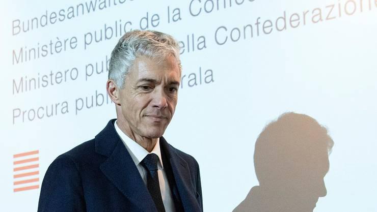 Bundesanwalt Michael Lauber 2018 nach einer Pressekonferenz in Bern.