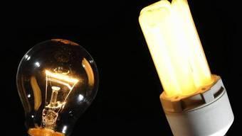 Glühbirne und Energiesparlampe. (Symbolbild)