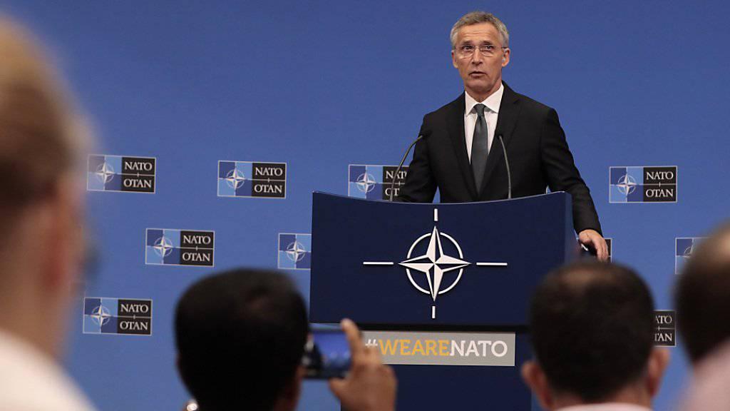 Nato-Generalsekretär Jens Stoltenberg informiert über die gestiegenen Verteidigungsausgaben der europäischen Bündnispartner.