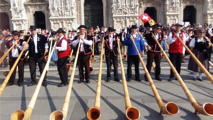 Erich Leimgruber (4. von links) hat allen Grund zur Freude. Er durfte in Italien sein dreiteiliges Horn zusammenschrauben und «Geschichte blasen». ZVG