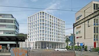 Visualisierung des Gewerbe-Wohnbaus auf dem Brauerei-Areal. Frei Architekten