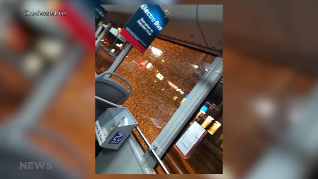 Trams und Busse am Loryplatz mit Steinen attackiert