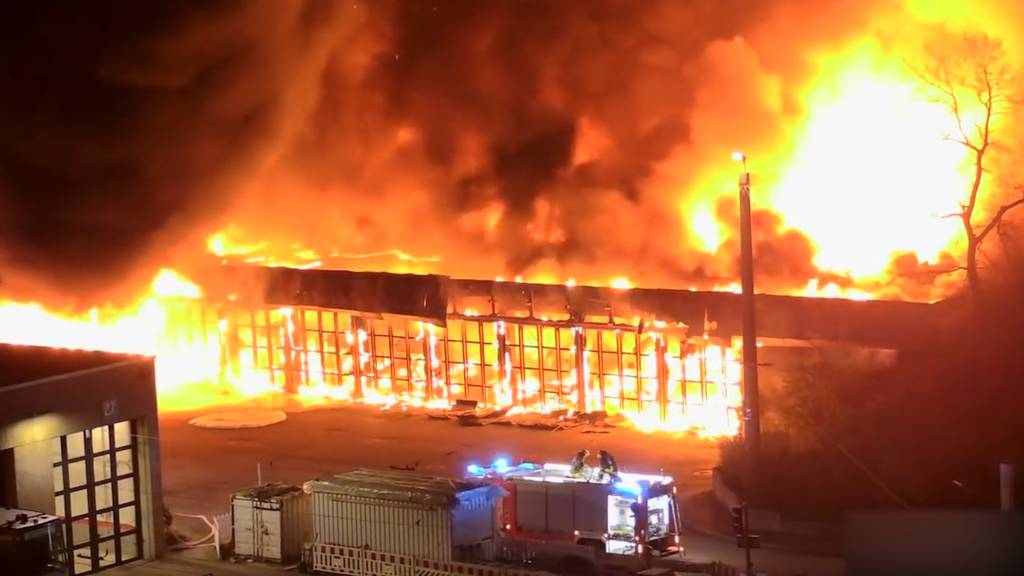 Inferno in Düsseldorf: Halle mit 40 Linienbussen geht in Flammen auf