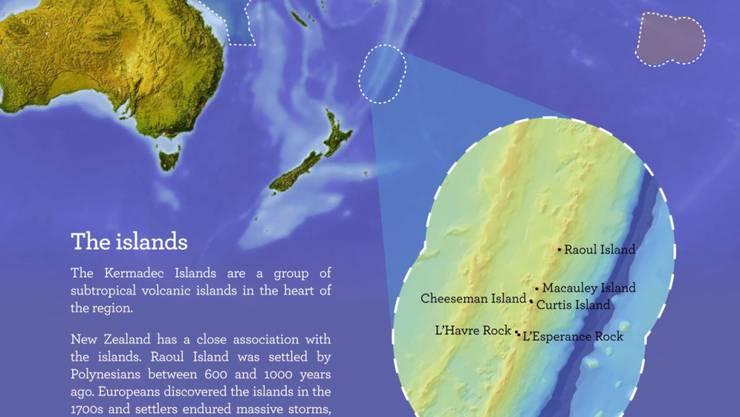 Das neue Schutzgebiet rechts im Bild. Links davon liegen Neuseeland und am oberen Rand Australien.