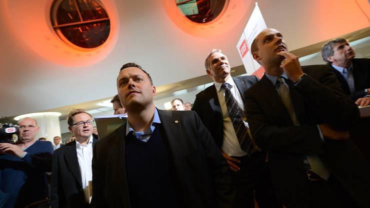 Die SVP findet keinen geeigneten Kandidaten für die Regierungswahlen: (v.l.) Sebastian Frehner, Lorenz Nägelin und Joel Thüring. (Archivbild)