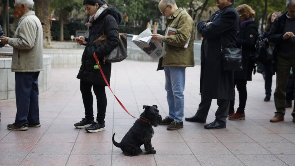 Wähler stehen vor einem Wahllokal in der katalanischen Hauptstadt Barcelona Schlange, um ihre Stimme bei den Regionalwahlen abzugeben.