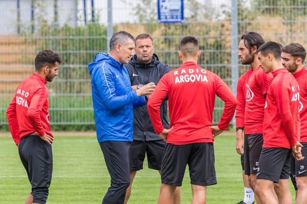 Das erste Training des neuen Stürmertrainers Petar Aleksandrov beim FC Aarau