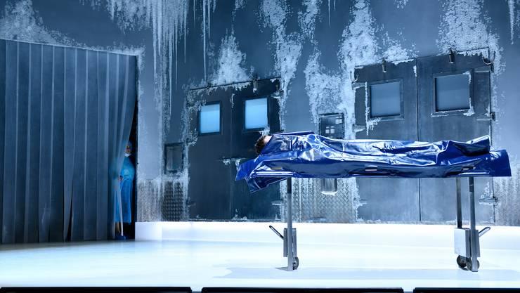 Lieber zum Eisblock erstarren als ein falsches Leben führen: Alicia Aumüller ist in Yana Ross' Inszenierung die namenlose Protagonistin aus dem Roman «Mein Jahr der Ruhe und Entspannung».