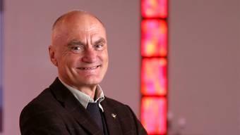 Erich Huber in der reformierten Kirche in Wangen, in welcher er über drei Jahrzehnte seine Predigten hielt.