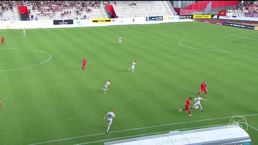 Challenge League, 2019/20, 1. Runde, FC Winterthur - FC Aarau, 32. Minute: Schuss von Luka Sliskovic (kein Tor wegen Abseits).