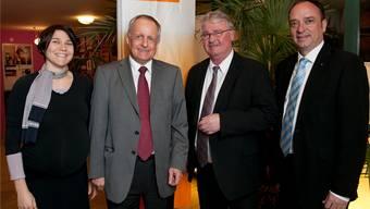 In der Mitte der bisherige CVP-Präsident Franz Hollinger und der neue Markus Zemp, flankiert von den zwei neuen Vizepräsidenten: Grossrätin Nicole Meier Doka (links), Grossrat Markus Dieth (rechts).