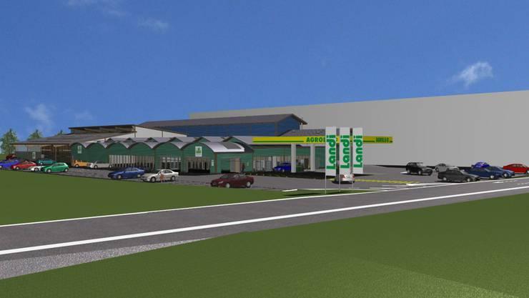 Im Reinacher Moos will die Landi einen neuen Markt mit Tankstellenshop und 74 Parkplätzen bauen. zvg