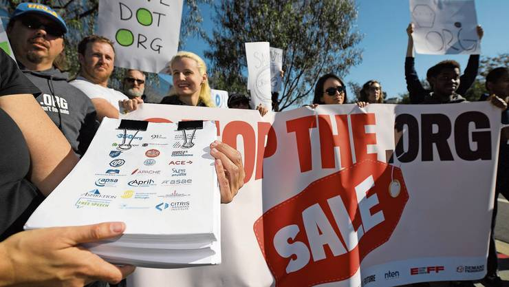 In Los Angeles protestierten im Januar Aktivisten gegen den Verkauf der Webseiten-Endung «.org»
