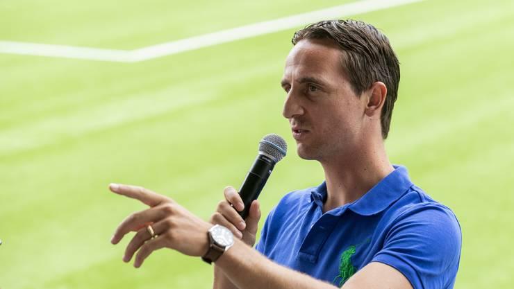 """Sandro Burki, Vertreter FC Aarau, bei der Diskussion zum Thema """"Team Aargau"""", am 28. Juli 2018 im Stadion Esp, Fislisbach."""